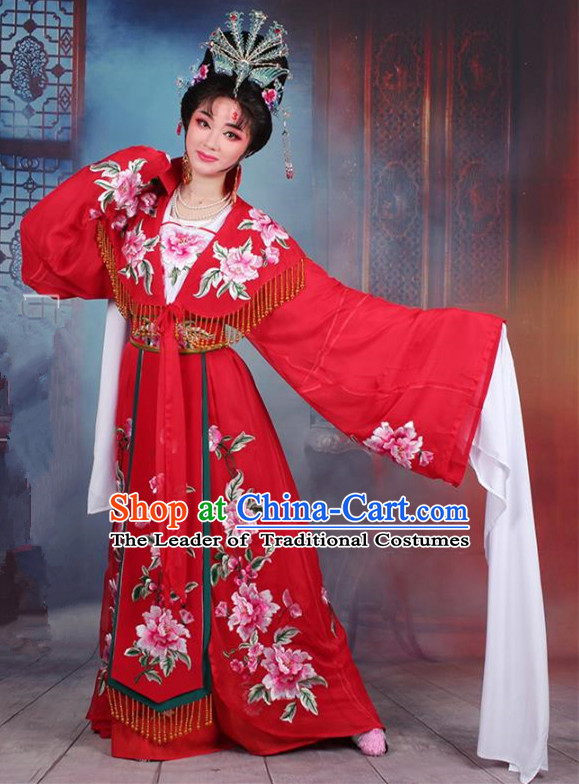 Traditional China Beijing Opera Young Lady Hua Tan Costume Imperial Concubine Red Embroidered Cape, Ancient Chinese Peking Opera Diva Embroidery Peony Dress Clothing