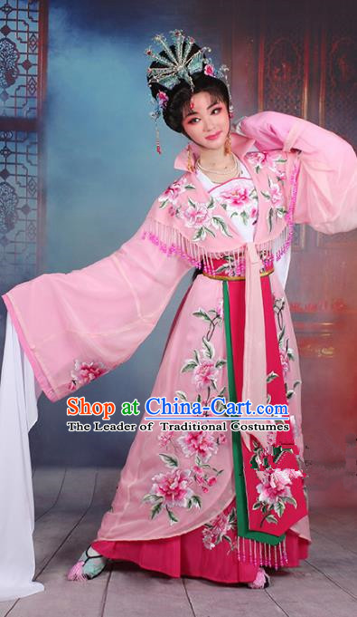 Traditional China Beijing Opera Young Lady Hua Tan Costume Imperial Concubine Pink Embroidered Cape, Ancient Chinese Peking Opera Diva Embroidery Peony Dress Clothing