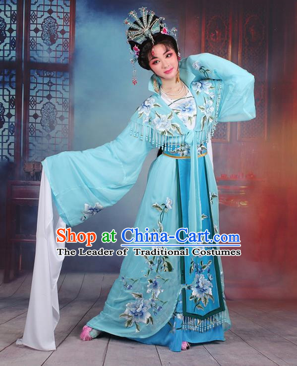 Traditional China Beijing Opera Young Lady Hua Tan Costume Imperial Concubine Blue Embroidered Cape, Ancient Chinese Peking Opera Diva Embroidery Peony Dress Clothing