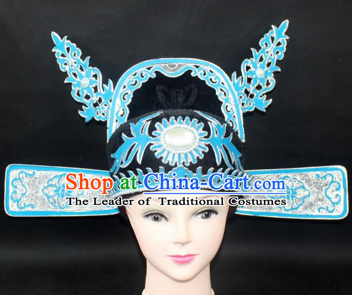 Traditional China Beijing Opera Lang Scholar Niche Hat, Ancient Chinese Peking Opera Men Black Gauze Cap Headwear Prime Minister Hat