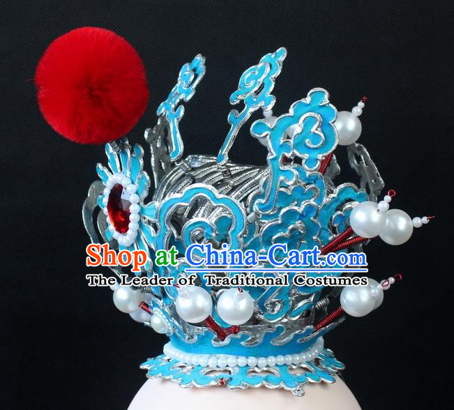 Traditional China Beijing Opera Lang Scholar Niche Sun Wukong Tuinga, Ancient Chinese Peking Opera Crown Prince Headwear