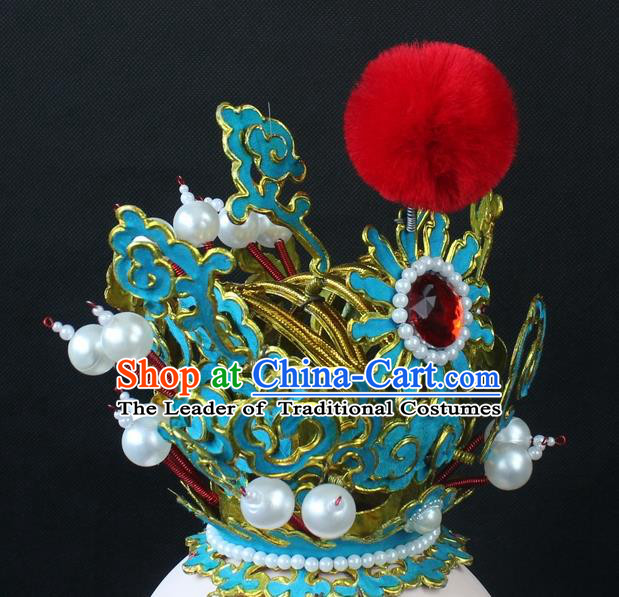 Traditional China Beijing Opera Lang Scholar Niche Sun Wukong Green Tuinga, Ancient Chinese Peking Opera Crown Prince Headwear