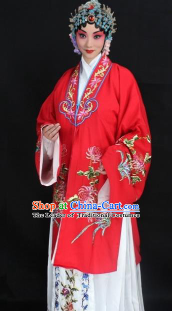 Traditional China Beijing Opera Young Lady Hua Tan Costume Red Embroidered Cape, Ancient Chinese Peking Opera Female Diva Embroidery Chrysanthemum Dress Clothing