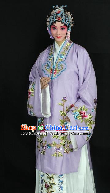 Traditional China Beijing Opera Young Lady Hua Tan Costume Lilac Embroidered Cape, Ancient Chinese Peking Opera Female Diva Embroidery Peony Dress Clothing