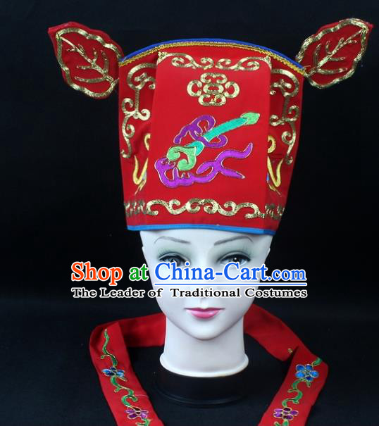 Traditional China Beijing Opera Headpiece Prime Minister Hat, Ancient Chinese Peking Opera Lang Scholar Hat Headwear