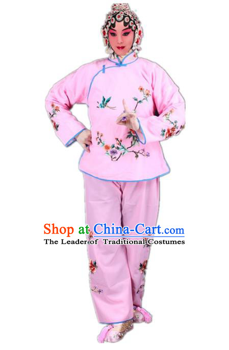 Traditional China Beijing Opera Young Lady Hua Tan Costume Maidservants Embroidered Pink Clothing, Ancient Chinese Peking Opera Diva Embroidery Dress Clothing