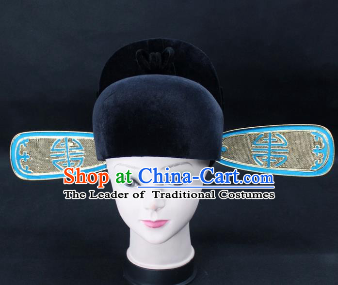 Traditional China Beijing Opera Sesame Official Hat, Ancient Chinese Peking Opera Men Headwear Prime Minister Hat