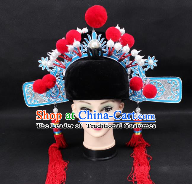 Traditional China Beijing Opera Lang Scholar Hat, Ancient Chinese Peking Opera Young Men Headwear Bridegroom Hat