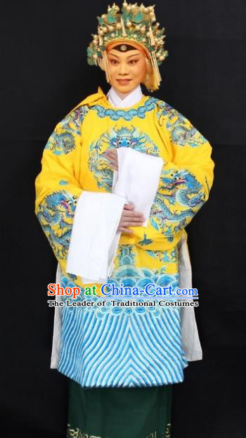 Traditional China Beijing Opera Old Women Costume Empress Dowager Embroidered Yellow Cape, Ancient Chinese Peking Opera Pantaloon Embroidery Dress Clothing