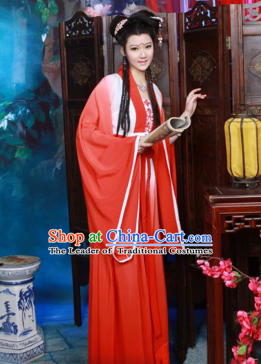 Traditional Chinese Tang Dynasty Imperial Princess Costume, Elegant Hanfu Clothing Chinese Ancient Fairy Red Dress Clothing