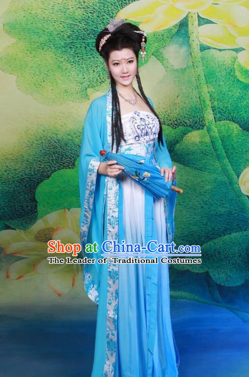 Traditional Chinese Tang Dynasty Imperial Princess Peri Costume, Elegant Hanfu Clothing Chinese Ancient Palace Lady Fairy Blue Dress Clothing