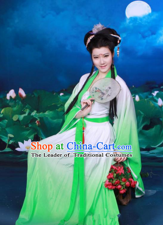 Traditional Chinese Tang Dynasty Imperial Princess Fairy Costume, Elegant Hanfu Clothing Chinese Ancient Palace Lady Green Dress Clothing