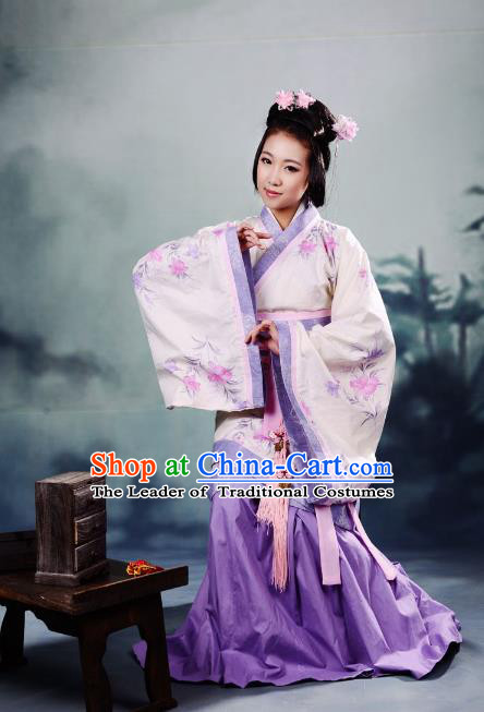 Traditional Chinese Han Dynasty Imperial Princess Peri Purple Curve Bottom Costume, China Ancient Hanfu Dress Palace Lady Hand Painting Clothing for Women