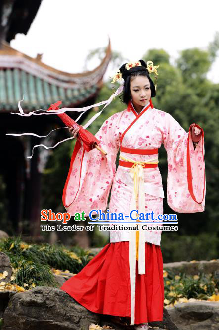 Traditional Chinese Han Dynasty Imperial Princess Wedding Curve Bottom Costume, China Ancient Hanfu Fairy Dress Palace Lady Hand Painting Clothing for Women