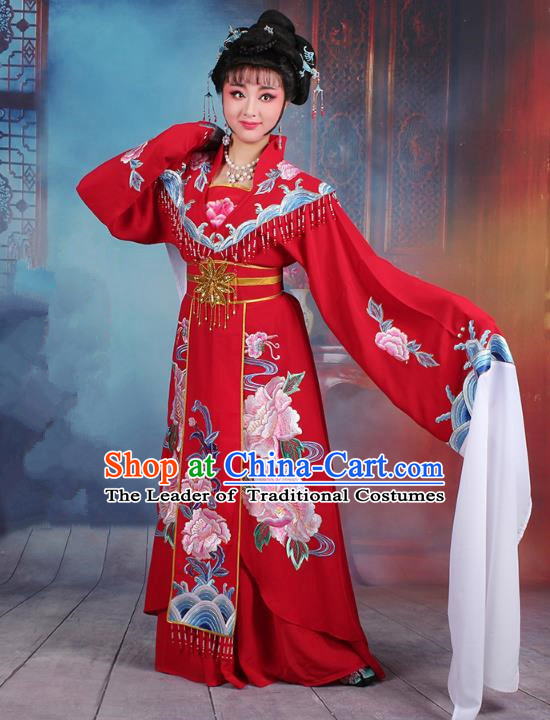 Traditional China Beijing Opera Young Lady Hua Tan Costume Red Embroidered Dress, Ancient Chinese Peking Opera Diva Senior Concubine Embroidery Clothing