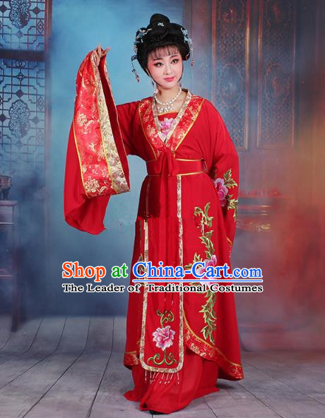Traditional China Beijing Opera Young Lady Hua Tan Costume Red Embroidered Dress, Ancient Chinese Peking Opera Diva Senior Concubine Embroidery Peony Clothing