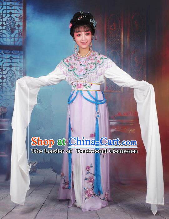 Traditional China Beijing Opera Young Lady Hua Tan Costume Lilac Embroidered Dress, Ancient Chinese Peking Opera Diva Senior Concubine Embroidery Peony Clothing