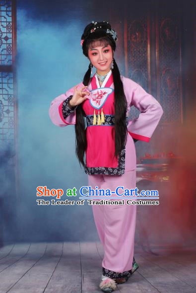 Traditional China Beijing Opera Young Lady Hua Tan Costume Servant Girl Pink Embroidered Dress, Ancient Chinese Peking Opera Diva Maidservants Embroidery Clothing