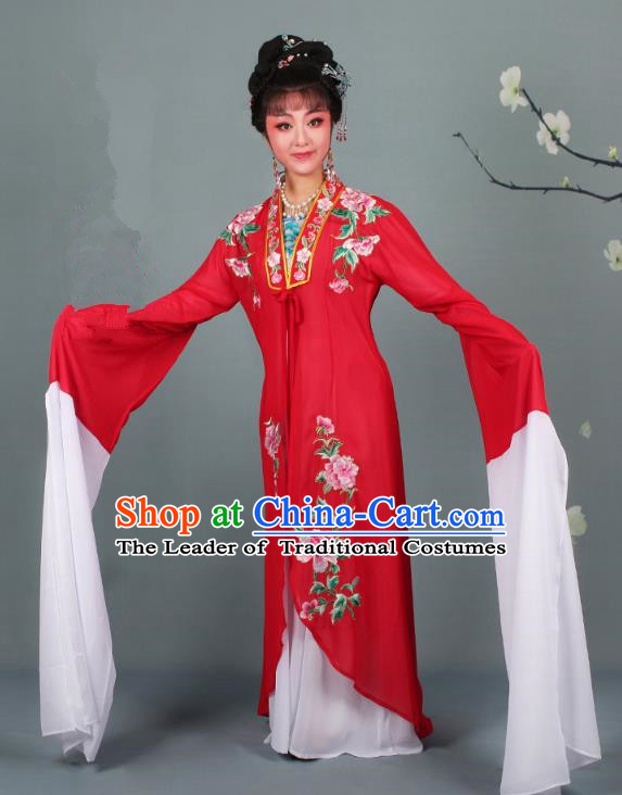Traditional China Beijing Opera Young Lady Hua Tan Costume Princess Red Embroidered Cape, Ancient Chinese Peking Opera Diva Embroidery Dress Clothing