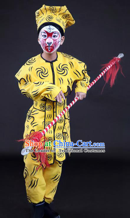 Traditional China Beijing Opera Takefu Costume, Ancient Chinese Peking Opera Wu-Sheng Handsome Monkey King Clothing for Kids