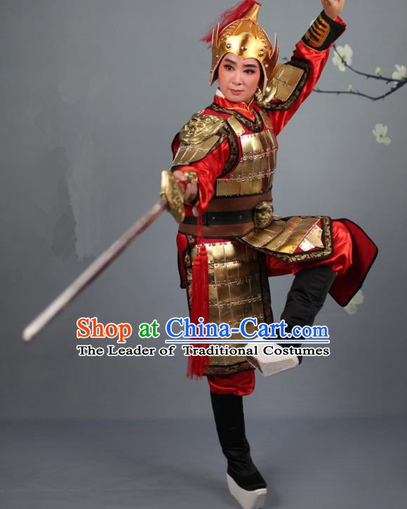 Traditional China Beijing Opera Swordplay Helmet and Armour Costume, Ancient Chinese Peking Opera Blues Female General Corselet Clothing