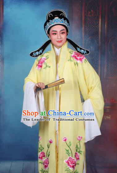 Top Grade Professional Beijing Opera Niche Costume Scholar Yellow Embroidered Cape, Traditional Ancient Chinese Peking Opera Embroidery Young Men Clothing