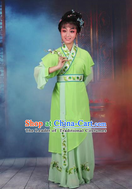 Top Grade Professional Beijing Opera Young Lady Costume Servant Girl Green Embroidered Dress, Traditional Ancient Chinese Peking Opera Maidservants Embroidery Clothing