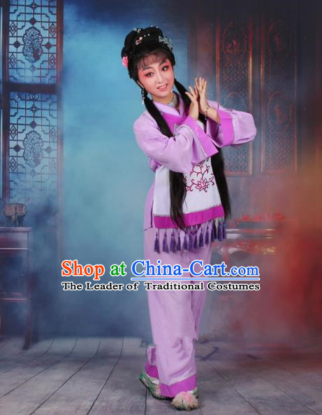 Top Grade Professional Beijing Opera Young Lady Costume Fisher Maiden Purple Embroidered Clothing, Traditional Ancient Chinese Peking Opera Maidservants Embroidery Clothing