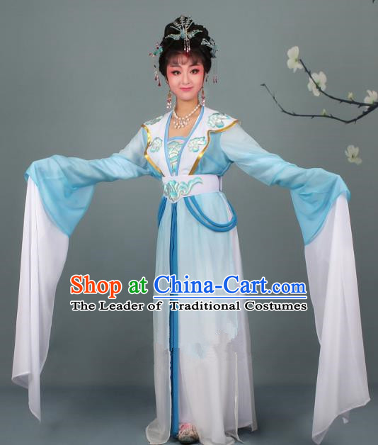 Top Grade Professional Beijing Opera Palace Lady Costume Hua Tan Blue Embroidered Clothing, Traditional Ancient Chinese Peking Opera Diva Embroidery Clothing