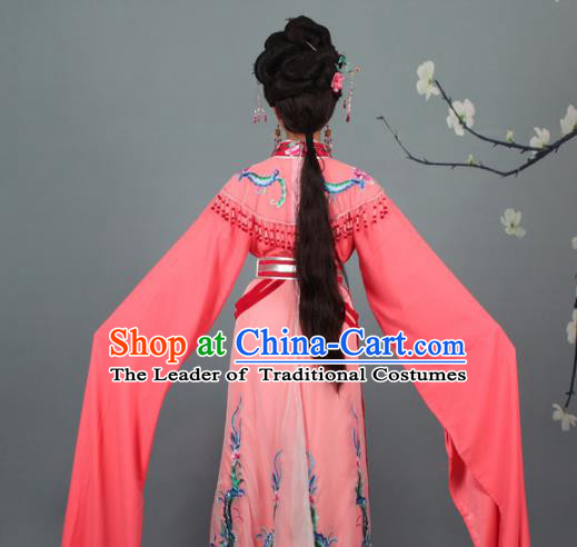 Top Grade Professional Beijing Opera Palace Lady Costume Hua Tan Watermelon Red Embroidered Dress, Traditional Ancient Chinese Peking Opera Diva Embroidery Phoenix Clothing