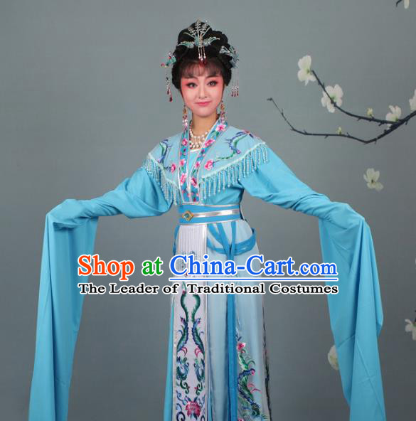 Top Grade Professional Beijing Opera Palace Lady Costume Hua Tan Blue Embroidered Dress, Traditional Ancient Chinese Peking Opera Diva Embroidery Phoenix Clothing