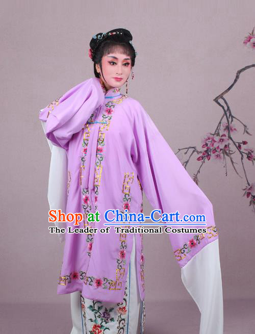 Top Grade Professional Beijing Opera Female Role Costume Purple Embroidered Cape, Traditional Ancient Chinese Peking Opera Diva Embroidery Clothing
