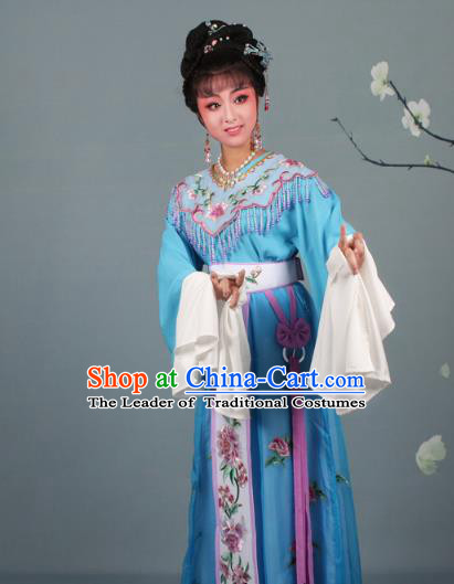 Top Grade Professional Beijing Opera Palace Lady Costume Hua Tan Blue Embroidered Dress, Traditional Ancient Chinese Peking Opera Diva Embroidery Peony Clothing