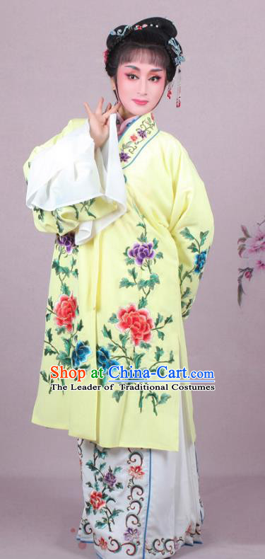 Top Grade Professional Beijing Opera Female Role Costume Imperial Concubine Yellow Embroidered Cape, Traditional Ancient Chinese Peking Opera Diva Embroidery Peony Clothing