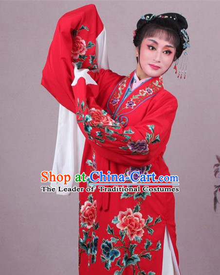 Top Grade Professional Beijing Opera Female Role Costume Imperial Concubine Red Embroidered Cape, Traditional Ancient Chinese Peking Opera Diva Embroidery Peony Clothing