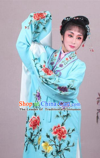 Top Grade Professional Beijing Opera Female Role Costume Imperial Concubine Light Blue Embroidered Cape, Traditional Ancient Chinese Peking Opera Diva Embroidery Peony Clothing