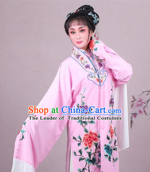 Top Grade Professional Beijing Opera Female Role Costume Imperial Concubine Pink Embroidered Cape, Traditional Ancient Chinese Peking Opera Diva Embroidery Peony Clothing