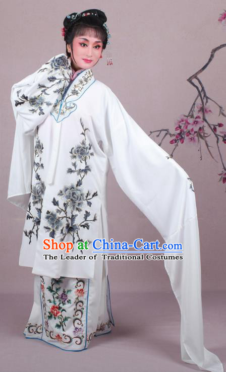 Top Grade Professional Beijing Opera Female Role Costume Imperial Princess Embroidered Cape, Traditional Ancient Chinese Peking Opera Diva Embroidery Grey Peony Clothing