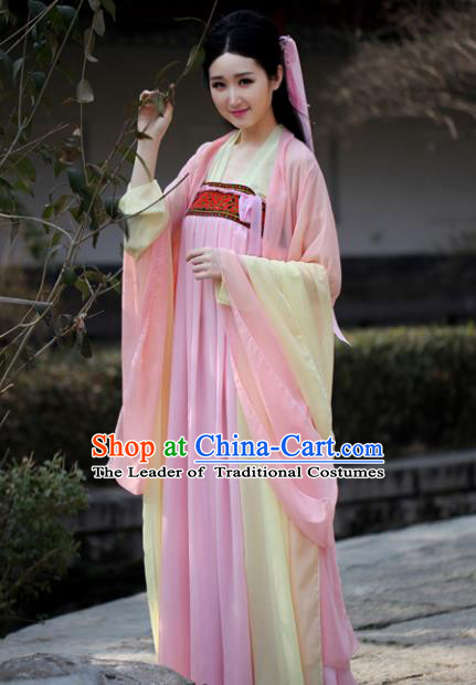 Traditional Chinese Ancient Palace Lady Costume, Elegant Hanfu Chinese Tang Dynasty Imperial Princess Dress Clothing