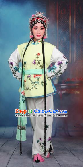 Top Grade Professional Beijing Opera Young Lady Costume Mui Tsai Yellow Embroidered Vest Clothing, Traditional Ancient Chinese Peking Opera Maidservants Embroidery Clothing