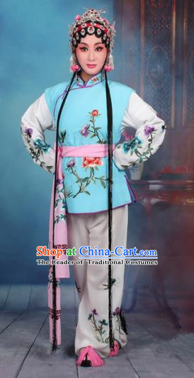 Top Grade Professional Beijing Opera Young Lady Costume Mui Tsai Light Blue Embroidered Vest Clothing, Traditional Ancient Chinese Peking Opera Maidservants Embroidery Clothing