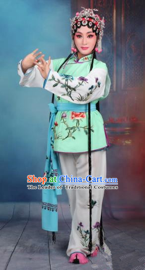 Top Grade Professional Beijing Opera Young Lady Costume Mui Tsai Green Embroidered Vest Clothing, Traditional Ancient Chinese Peking Opera Maidservants Embroidery Clothing