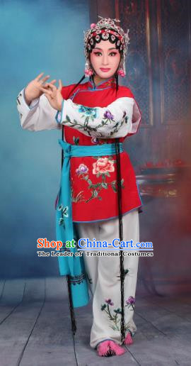 Top Grade Professional Beijing Opera Young Lady Costume Mui Tsai Red Embroidered Vest Clothing, Traditional Ancient Chinese Peking Opera Maidservants Embroidery Clothing