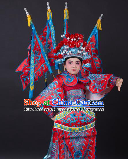 Traditional China Beijing Opera Takefu General Costume and Headwear Complete Set, Ancient Chinese Peking Opera Wu-Sheng Military Officer Embroidery Red Clothing for Kids