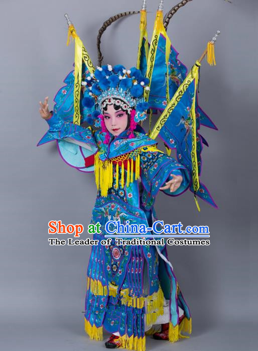 Traditional China Beijing Opera Female General Costume and Headwear Complete Set, Ancient Chinese Peking Opera Swordplay Military Officer Embroidery Blue Clothing for Kids