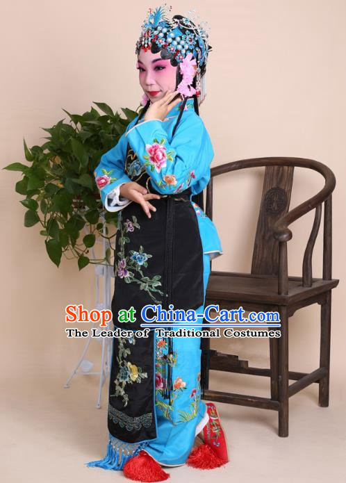Top Grade Professional Beijing Opera Young Lady Costume Blue Embroidered Clothing, Traditional Ancient Chinese Peking Opera Maidservants Embroidery Clothing for Kids