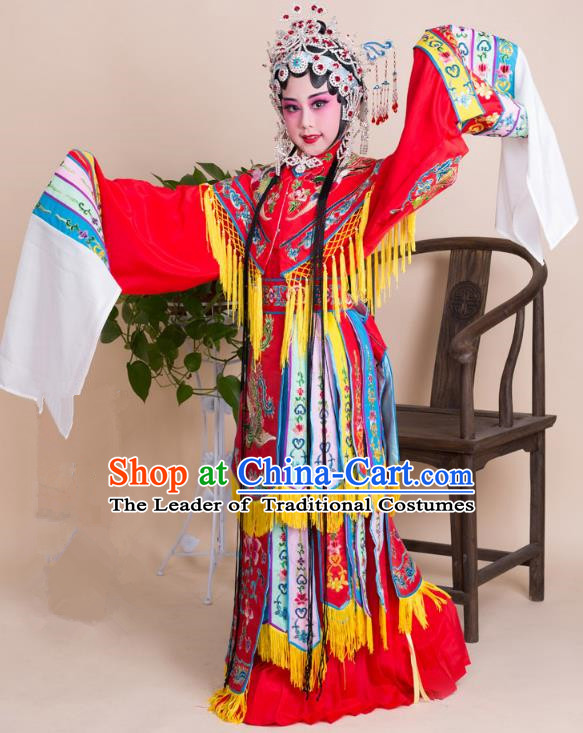 Top Grade Professional China Beijing Opera Costume Imperial Concubine Embroidered Dress, Ancient Chinese Peking Opera Diva Hua Tan Embroidery Phoenix Clothing for Kids