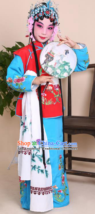 Top Grade Professional China Beijing Opera Costume Maidservants Embroidered Dress, Ancient Chinese Peking Opera Diva Hua Tan Embroidery Clothing for Kids