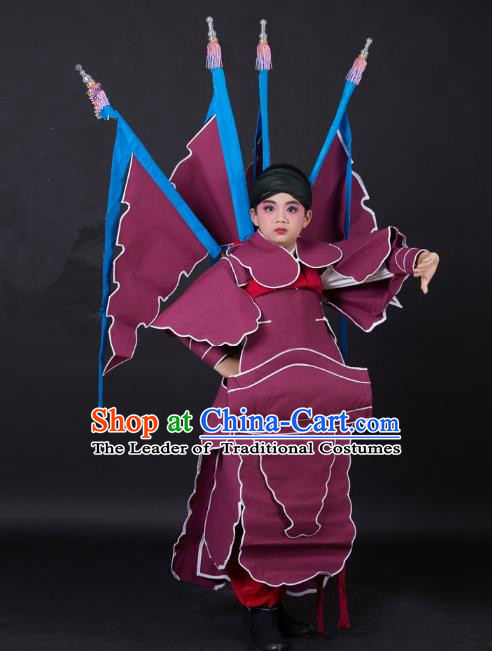 Traditional China Beijing Opera Takefu General Costume and Headwear Complete Set, Ancient Chinese Peking Opera Wu-Sheng Military Officer Clothing for Kids