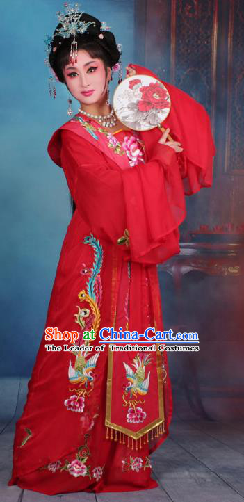 Top Grade Professional Beijing Opera Palace Lady Costume Hua Tan Imperial Consort Embroidered Red Dress, Traditional Ancient Chinese Peking Opera Diva Embroidery Clothing